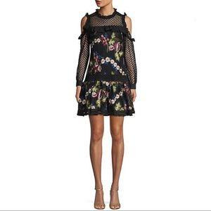 Allison NY EMBROIDERED FLORAL SHIFT DRESS BLACK